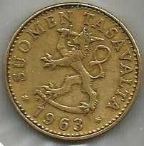 FINLAND ANTIQUE 50 PENNIA 1963 COIN