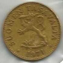 FINLAND ANTIQUE 50 PENNIA 1971 COIN