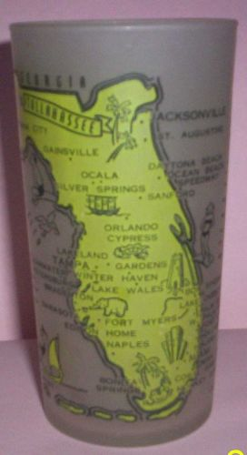 1960's Retro Hazel Atlas-- Frosted Souvenir Glass- Florida