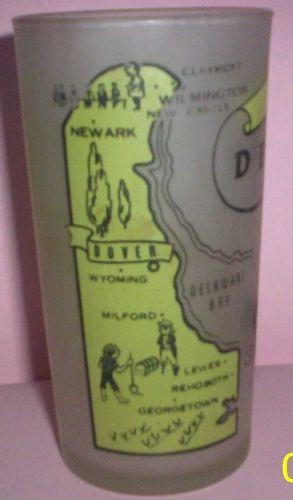 1960's Retro Hazel Atlas-- Frosted Souvenir Glass- Delaware