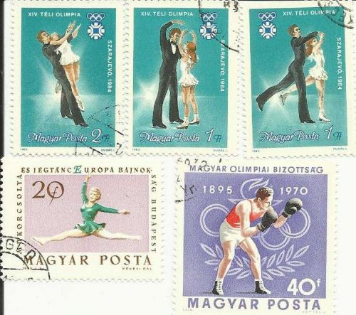 Hungary Olympics Stamps Boxing and Ice Dancers - Lot of 5 Quality Stamps