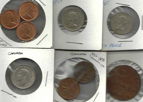 COIN LOT 9 - Canada England Lot of 9 coins: