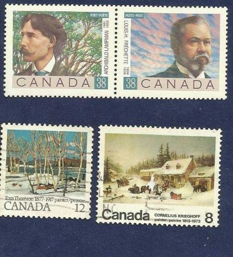 Canada QEII 1989 Canadian Poets Sg 1329 & 1330 Used plus two Bonus Stamps