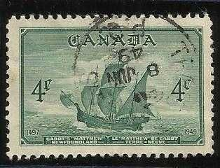 "Canada #282(33) 1949 4 cent deep green Cabot's Ship ""The Matthew"""