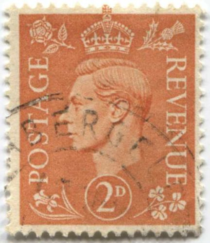 1941 king george vi 2d postage revenue stamp pale orange circulated for sale