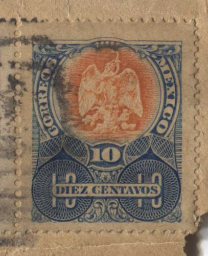 1909 Mexico 8 Diez and 1 Cinco Centavos Cancelled Attached to old Envelope