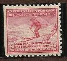 US 716 2c 1932 LAKE PLACID OLYMPIC MINT SINGLE