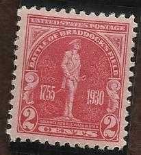 US 688 2c 1930 BATTLE OF BRADDOCK'S FIELD MINT