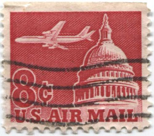 1962 8c Airplane over Capital Dome US Air Mail Cancelled Sheet Edge Nice Stamp