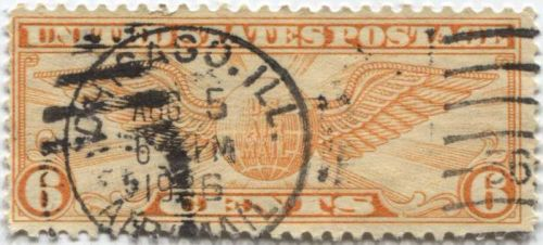 """1934 6c Winged Globe Used Cancelled """"2"""" and """"Chicago, Ill. Aug. 5, 1934 """" Nice!"""