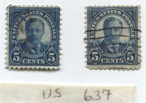 1927 5 Cents Teddy Roosevelt (x2) Stamps Good Cancelled Condition US Postage