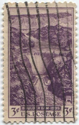 1935 3c Dedication of Boulder Dam Purple Good Used Vertical wave cancellation