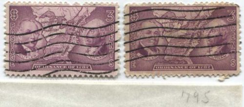 1937 3 cents Northwest Ordinance Territory Cutler & Putnam 2 Stamps Lot Used