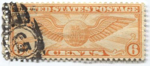 """1934 6c Winged Globe Air Mail Long Stamp Good """"G"""" Cancellation Stamp Sweet!"""