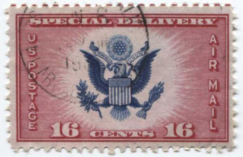 1936 16 cents Air Mail Special Delivery Red Horizontal Alignment Lines Top Perf