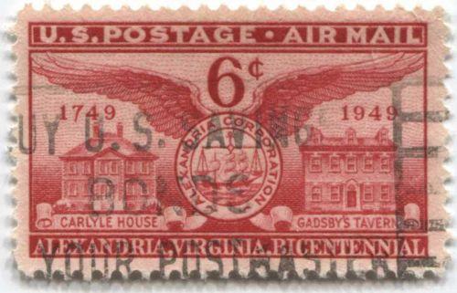 "1949 6c Airmail US Postage Alexandra, Virginia Bicentennial ""Buy U.S. Bonds"""