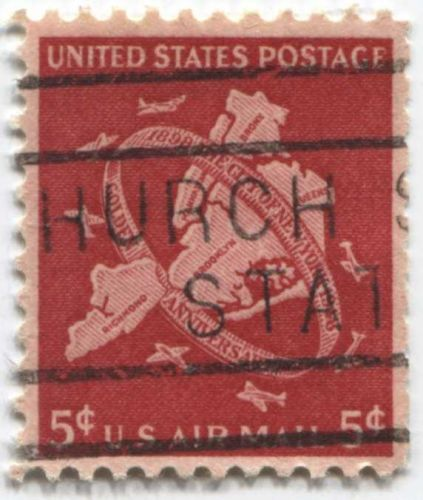 """1948 6c City of New York Golden Anniversary Red Stamp Cancelled """"hurch...Stat"""""""