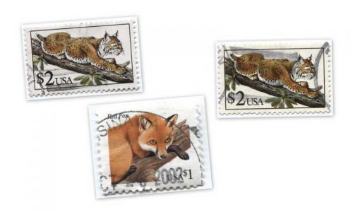 1990 $2 Bobcat Stamps x2 plus 1998 Red Fox Cancelled Good Used Condition Lot