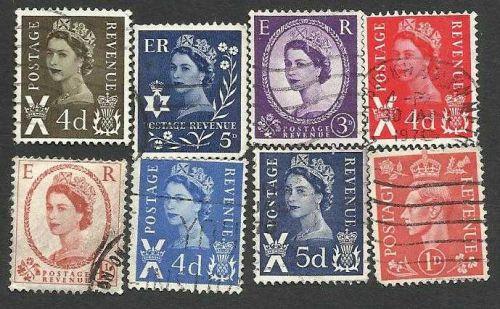 Great Britain postage revenue 8 stamps George VI, Queen Elizabeth