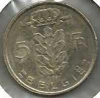1974 Belgium 5 Franc coin