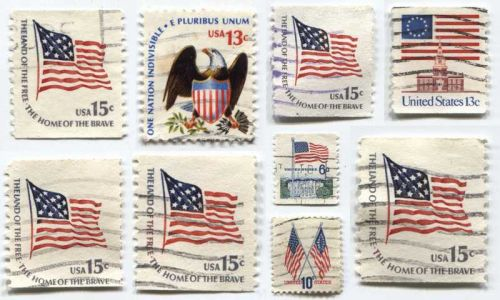 Set of 9 US Flag Stamps 6c, 10c, 13c & 15c Used Good Off-Paper Condition Buy Now