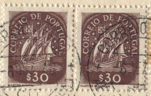 Correio De Portugal 5$00, 30$ Red Ship Stamp Martins Barata Cancelled On piece