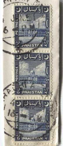 1951 Cancelled 6 As Pakistan Stamps 3 Vertically Attached On-Piece Karachi