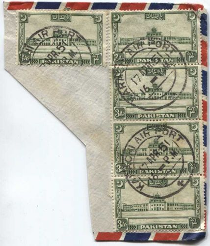 1951 Cancelled 3 As Pakistan Stamps 4 Vertically Attached +1 On-Piece Karachi