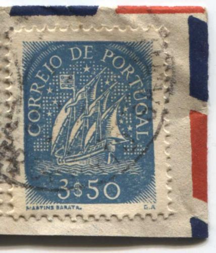 Correio De Portugal 3$50, $15 Blue Ship Stamp Martins Barata Cancelled On piece