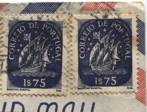 Correio De Portugal 1$75, $30 Blue Ship Stamp Martins Barata Cancelled On piece