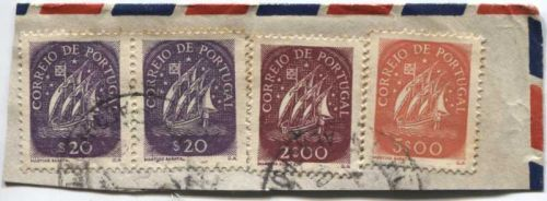 Correio De Portugal 5$00, 2$00, $20 Blue, Red Ship Stamps Cancelled On piece