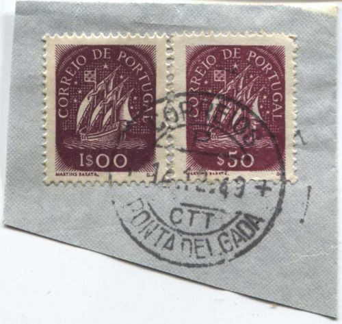 Correio De Portugal 1$00, $50 Red Ship Stamp Cancelled On piece 14-12-49