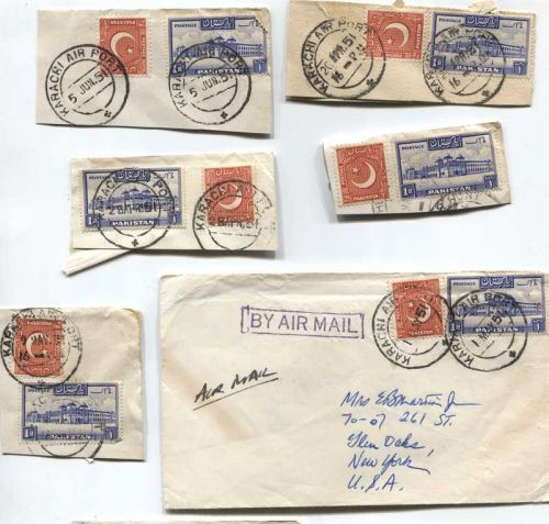 1951 Cancelled 1R + 2 As Pakistan Stamps Set of On Piece Corners 1 Envelope