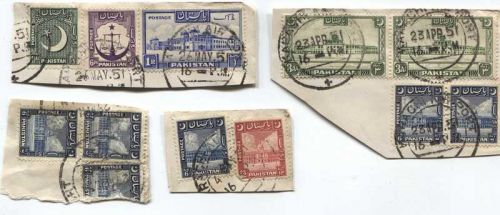 1951 Cancelled 1R, 1.5A, 2A, 3A, 6A, 6P Pakistan Stamps Set of On Piece Corners