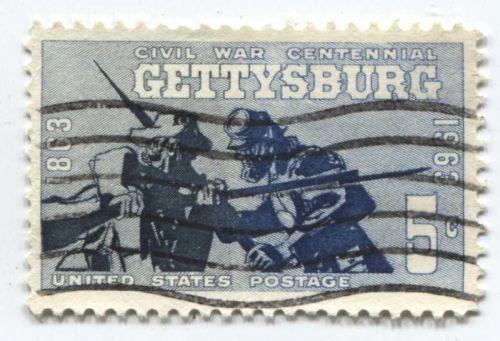 1963 + 1965 Civil War Centennial Stamps x2 Gettysburg and Appomattox Good Used