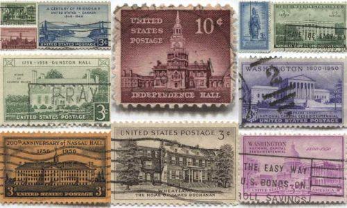 1940's+50's 3 Cent Stamps Lightly Cancelled Set 11 Unique Good Famous Places