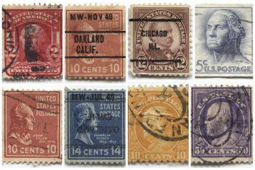 1940's+50's 2,5,10,12,14 &50 Cent Stamps Cancelled US Presidents Set 8 Precancel