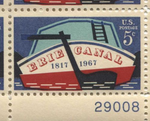 1967 5c Plate Block Erie Canal 150th Anniversary Construction 1817-1967