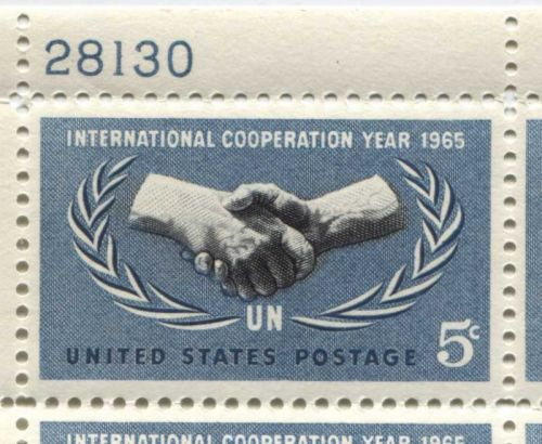 1965 5c International Cooperation Year 1965 Serial Mint Plate Block 4 Stamps