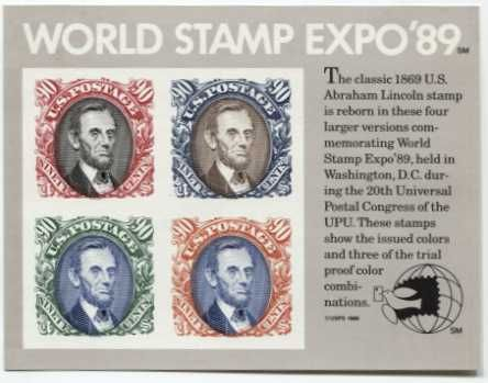1989 90c World Stamp Expo Souvenir Stamp Sheet 4 Stamps Imperforate