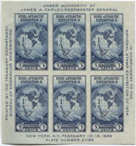 1935 3c Byrd Antarctic Expedition Souvenir Stamp Sheet 6 Stamps Imperforate