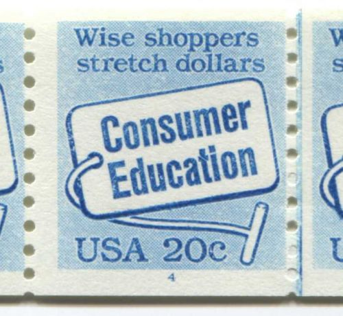 1982 20c Consumer Education Coil 6 Stamps Plate Number 4 Vertical Blue Line