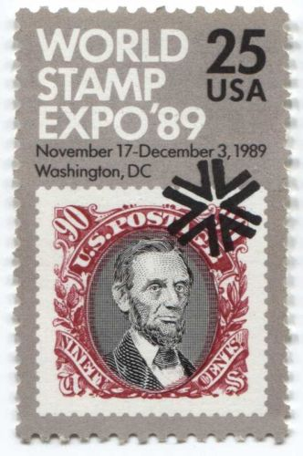 1989 25c World Stamp Expo Stamp Nov 17 - Dec 3, 1989 3 to choose from Unused