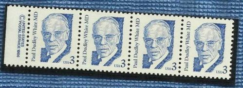US four 3c coil stamps 1986 Paul Dudley Wright MD
