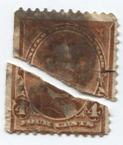 1895 4c U.S. Regular Issue 4¢ Lincoln ripped in half smudged stamp