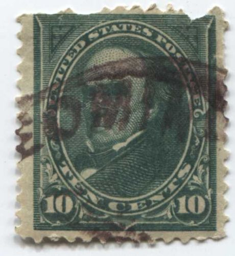 1895 10c U.S. Regular Issue 10¢ Daniel Webster Fine Used canceled smudged stamp
