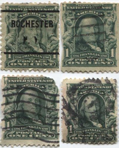 1903 1c Franklin Green Lot of 4 Stamps Good Used Pre-Cancel, Wave, 13 Killer