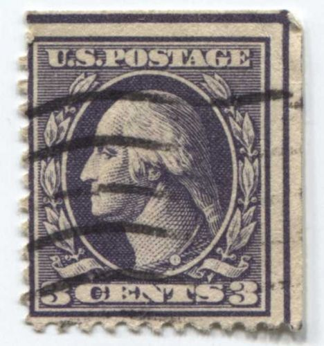 1918 3c Washington Stamp Good Used Wave Cancelled Straight Edge Top & Right