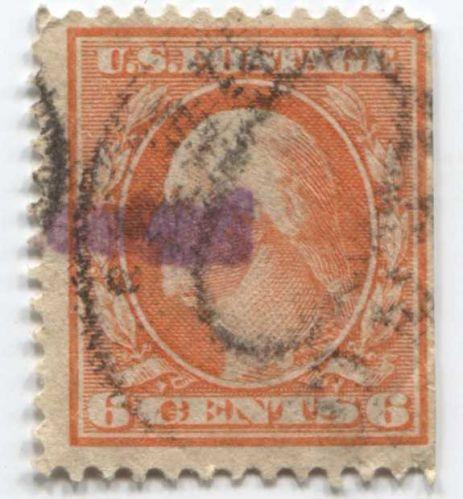 1911 6c Washington Stamp Good Used Cancelled Oval Fine Orange Sheet Edge Right