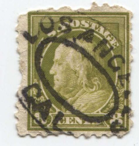 1917 8c Franklin Stamp Good Used Oval Bullseye Cancelled Los Angeles, CAL. Fine